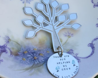 Tree Christmas Ornament Thank You For Helping Me Grow personalized  handstamped Teacher, Nanny, Day Care, Baby Sitter Gift