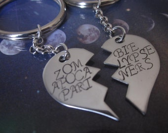 Zombie Apocalypse Partners  Set of Two Key Chains. End of days jewelry Keychains. key holder. zombies attack