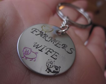 Farmers Wife Charm Necklace keychain stainless steel circle disc Hand stamped cow chick pig Farming girl cow girl