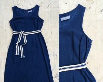 vintage deep indigo v neck tank dress w. handmade reversible woven African indigo sash belt