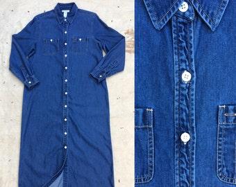 vintage 1990s tencel/cotton blend denim shirt dress / duster