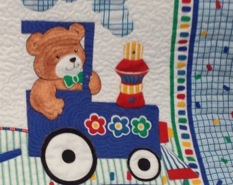 Baby Quilt Teddy Bears on Train