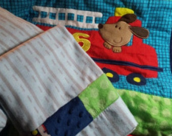 Baby Quilt Flannel Transportation Quilt with Fitted Sheet and Pillowcase Gift Set