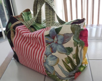 Tote Canvas Large and Beautiful Florals and  Stripes Patch  Cotton