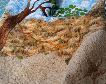 Seagrapes Beach Landscape Throw with Fur Backing