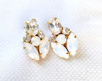Swarovski Bridal Earrings, Gold Bridal Earrings, White opal wedding earrings, post style rhinestone earrings LEYLA
