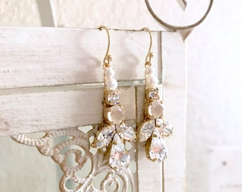Ivory cream bridal earrings, nude bridal earrings, white opal earrings, pearl bridal earrings, blush bridal earrings