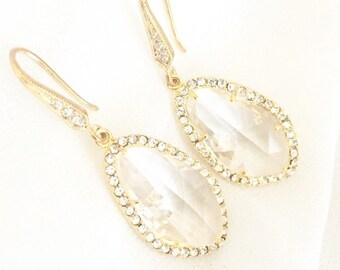 Gold Rhinestone Bridal Earrings, yellow Gold, Wedding Jewelry, Clear Glass Statement Earrings for Wedding,  Earrings