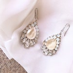 Ivory cream bridal earrings, opal bridal earrings, nude bridal earrings, pale blush bridal earrings CLARA