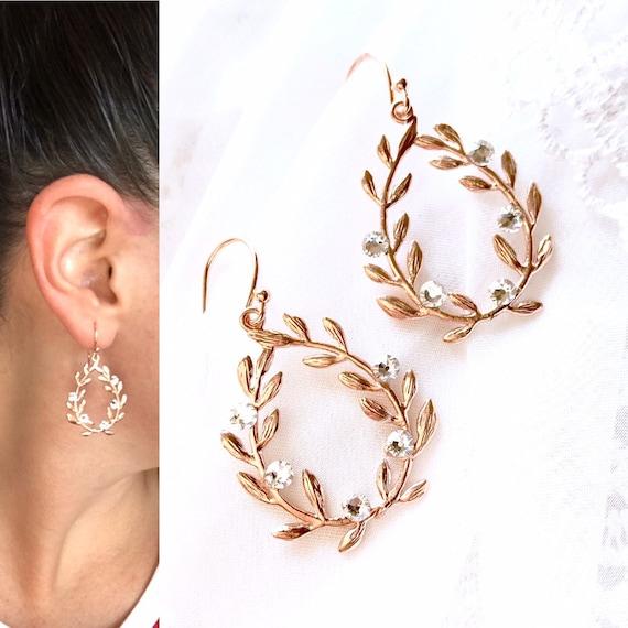 Rose Gold Ivy Earrings Rose Gold Vine Earrings Rose Gold Etsy