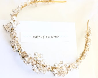 RTS Pearl Beaded Bridal Headband, Wedding Tiara, Gold tiara, pear tiara, pearl wedding hair piece, pearl crown, bridal crown, wedding crown
