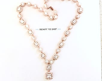 RTS Rose Gold Wedding necklace, rose gold rhinestone necklace, wedding jewelry, rose gold bridal necklace, rose gold necklace, pink gold