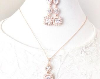 Rose Gold Jewelry Set, Rhinestone Pendant Necklace, Bridal Earrings, Pink Gold, Wedding Necklace, Bridal Jewelry Set, Wedding Jewelry Set