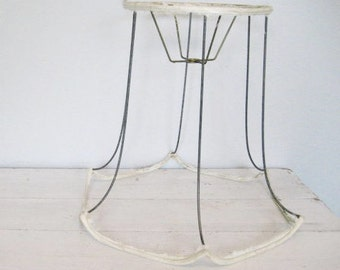Lamp shade frame etsy vintage large wire lamp shade frame base bell style with scalloped edges keyboard keysfo