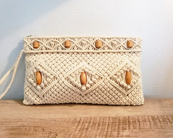 7f4c1751a15 Vintage Large Macrame Wristlet Clutch with Wooden Bead Detail