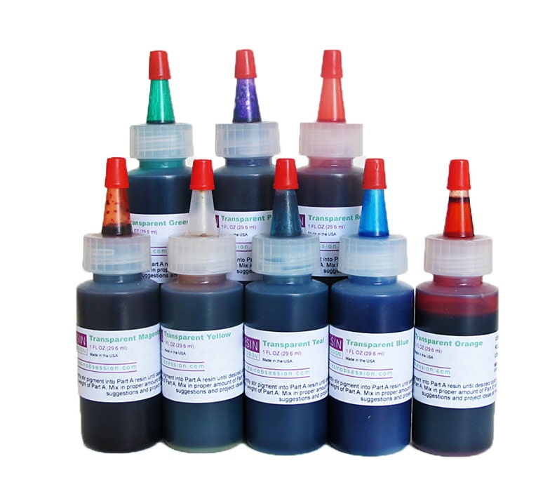 Resin Obsession transparent color pigments for coloring epoxy resin -  complete set of 8