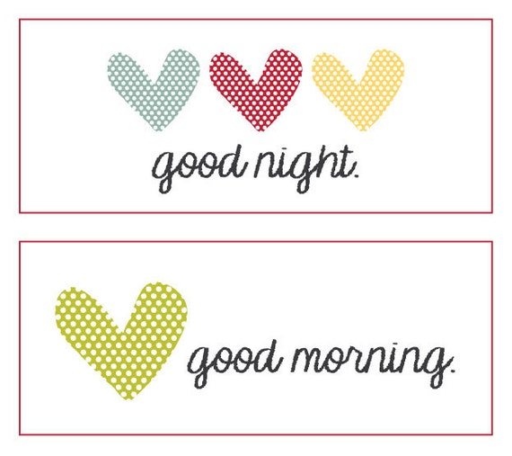 Gute Nacht Guten Morgen Herz Label
