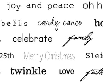 Little Christmas Words Iron On Label