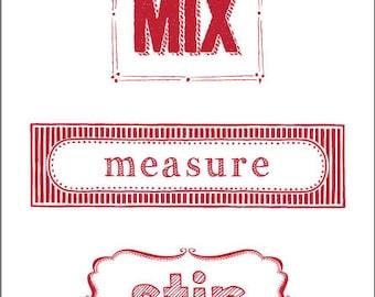 Mix, Measure, Stir Iron On Label