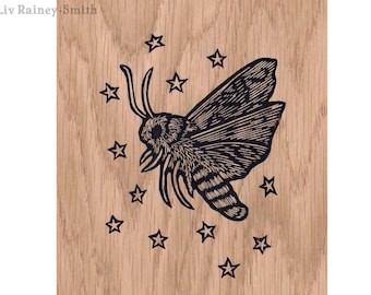 Moth screenprint on wood veneer 5 x 7