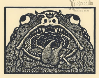 Through the Gate hellmouth woodcut print edition of 25