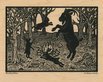 Woodland Rites Black Phillip goat and witch hares on wood veneer