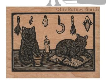 Cat witch's familiar cherry wood veneer card