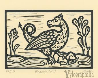 Shantak bird bestiary woodcut print LE of 22 matted