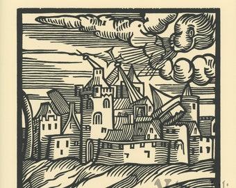 Wunderwerck III book of wonders renaissance style storm woodcut print LE of 27