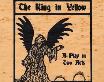 The King in Yellow wood veneer 8 x 10 Carcosa screen print