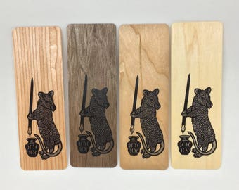 Rat writer wood veneer woodcut art bookmark 6 x 2 inches
