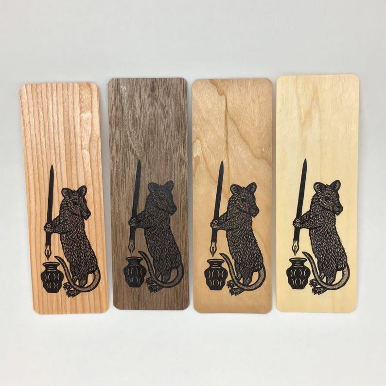 Rat writer wood veneer woodcut art bookmark 6 x 2 inches image 0