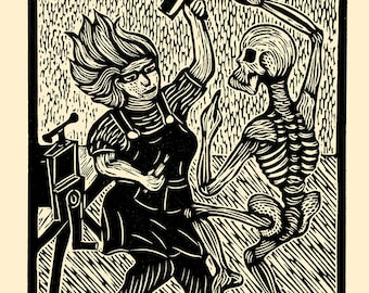 Death and the Printmaker woodcut hand-pulled print 11x14