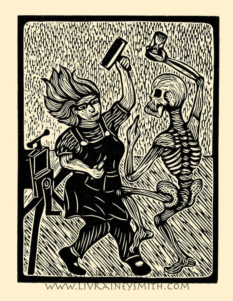 Death and the Printmaker woodcut hand-pulled print 11x14 image 0