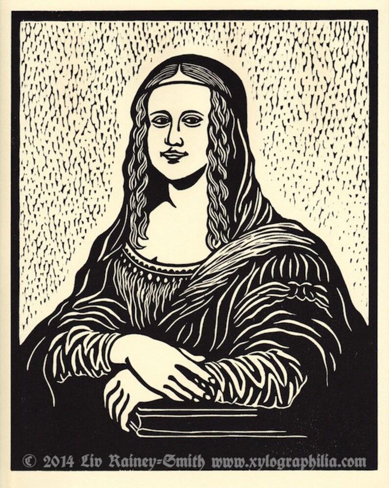 Mona da Vinci tribute original woodcut print first edition image 0