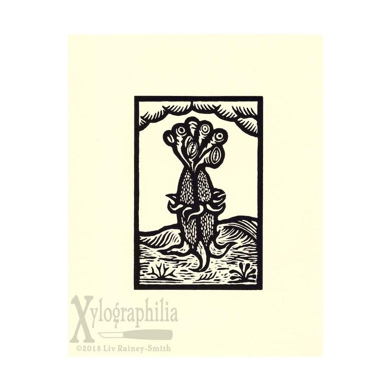 Eld Thing HP Lovecraft Mythos alien woodcut print limited image 0