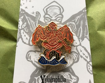 Red Cthulhu limited run enameled artist lapel pin