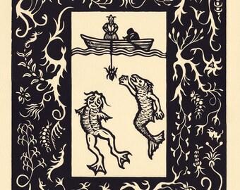 Bargaining Lovecraft Innsmouth Deep Ones Mythos woodcut print 11 x 14