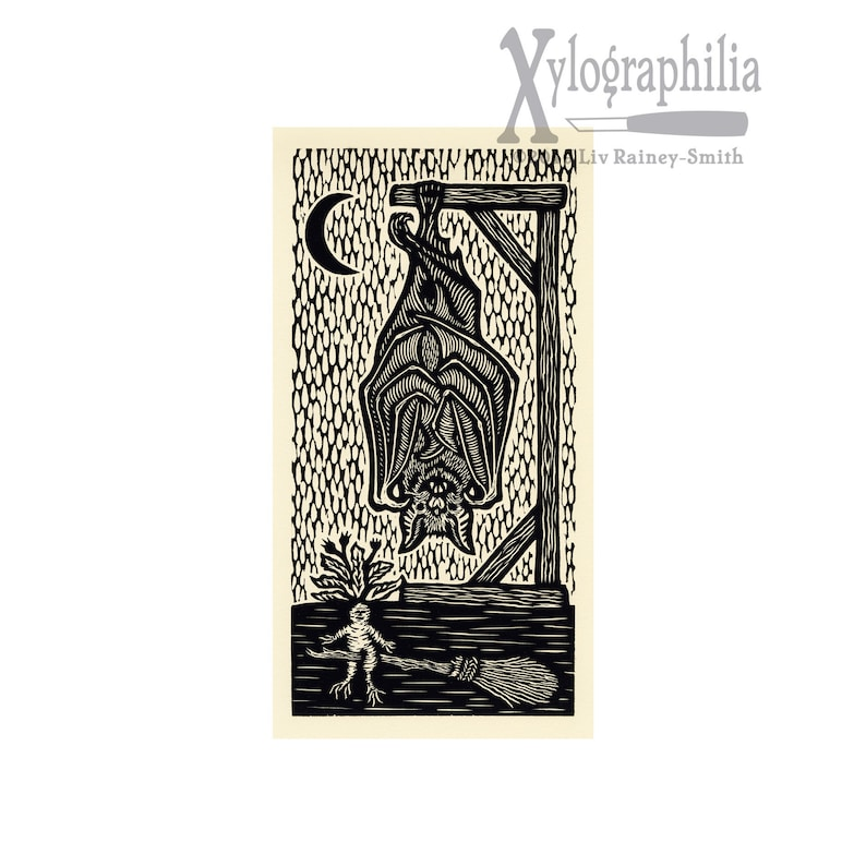 Bat woodcut limited edition Arcanum Bestiarum bestiary print image 0