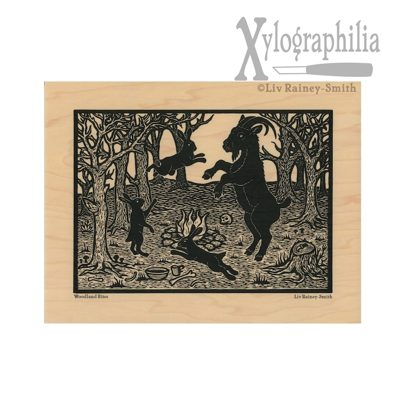 Woodland Rites Black Phillip goat and witch hares on wood image 0
