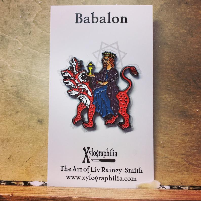 Babalon riding the Beast enamel pin