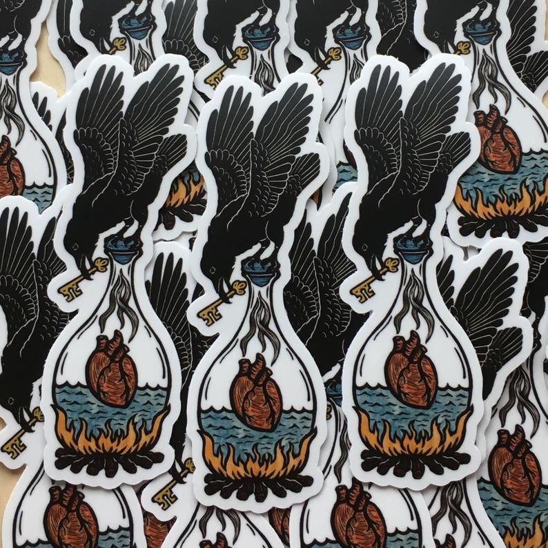 Raven heart alchemy sticker indoor/outdoor vinyl image 0