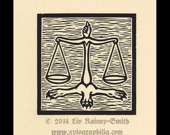 Libra Zodiac astrological woodcut print hand pulled print 6 x 6