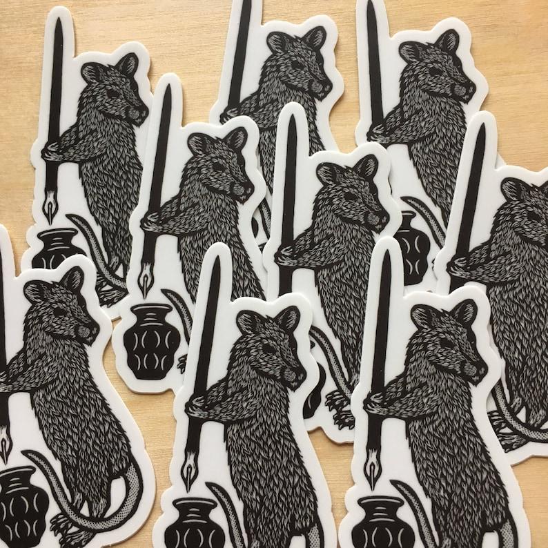 Rat Writer Familiar sticker indoor/outdoor vinyl image 0