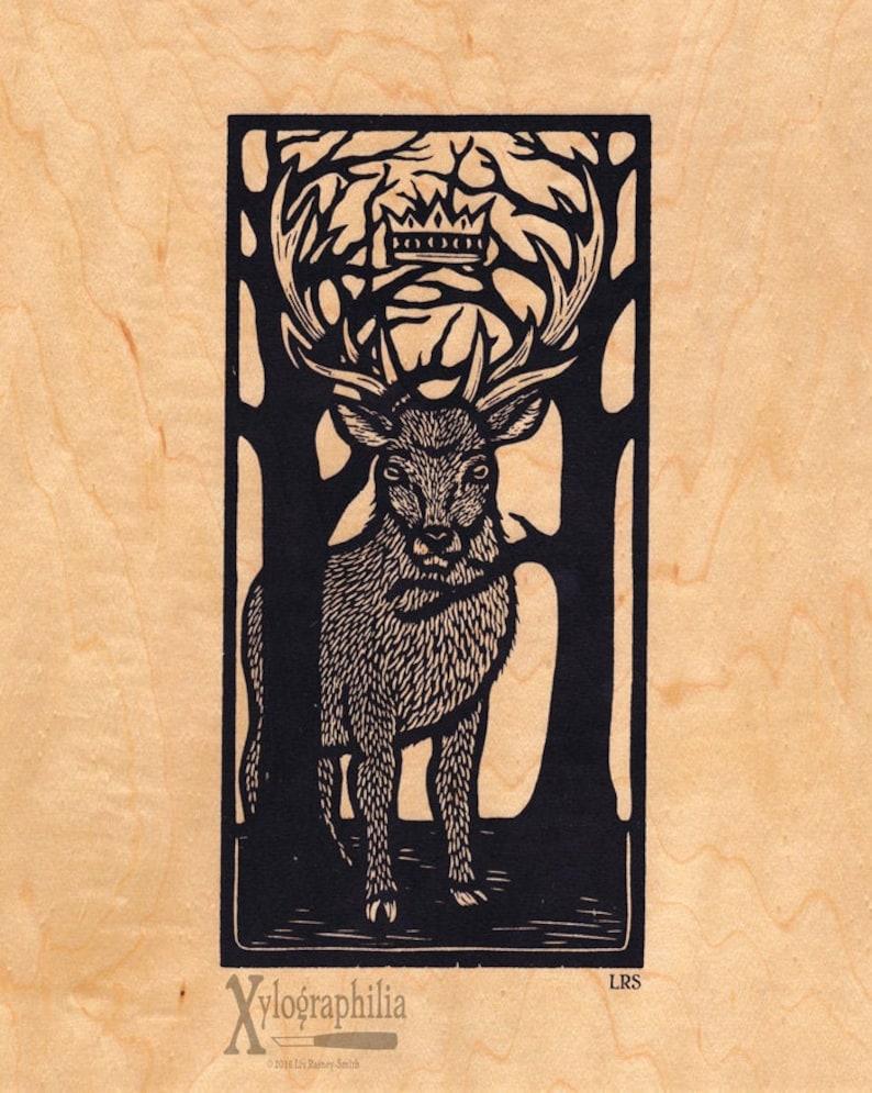 Stag Lord of the Woods screen print on sustainable wood veneer image 0