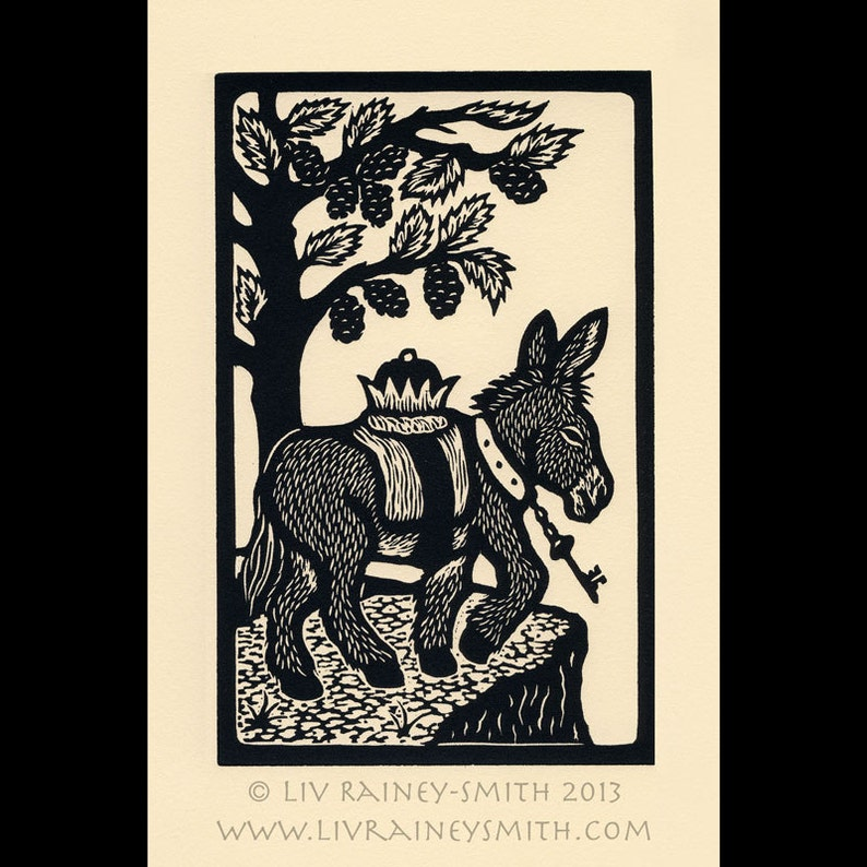 Donkey The Fool woodcut Arcanum Bestiarum bestiary Limited image 0