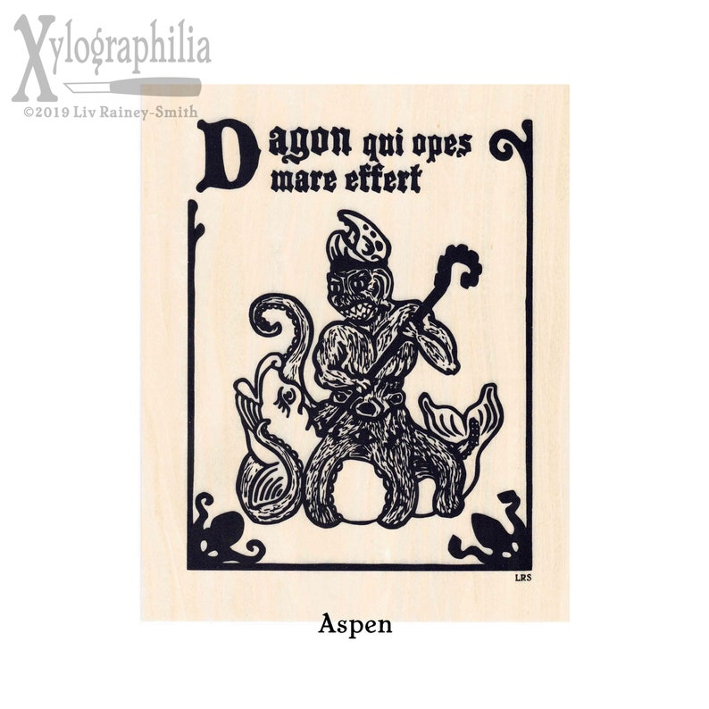 Dagon who brings abundance from the sea screen print on wood image 0