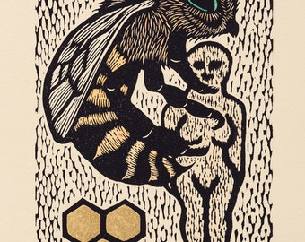 Bee hand colored 23k gold gilded Artist Proof woodcut Arcanum Bestiarum bestiary print