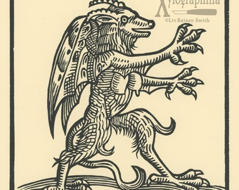 Wunderwerck II book of wonders renaissance style Cryptid woodcut print LE of 33
