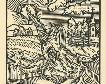 Wunderwerck I book of wonders renaissance style woodcut print LE of 34